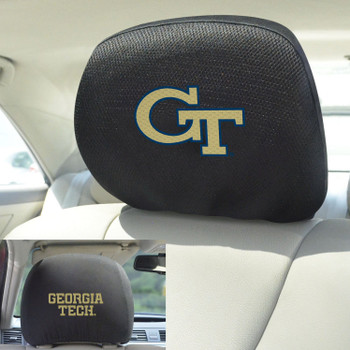 Georgia Tech Car Headrest Cover, Set of 2
