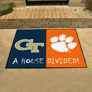 "33.75"" x 42.5"" Georgia Tech / Clemson House Divided Rectangle Mat"