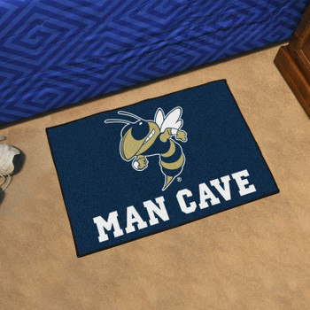"19"" x 30"" Georgia Tech Blue Man Cave Starter Rectangle Mat"