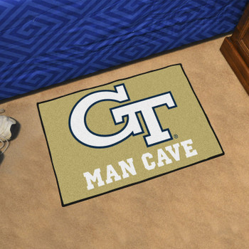 "19"" x 30"" Georgia Tech Gold Man Cave Starter Rectangle Mat"