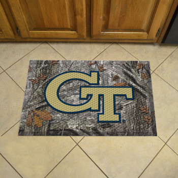 "19"" x 30"" Georgia Tech Rectangle Camo Scraper Mat - ""GT"" Logo"