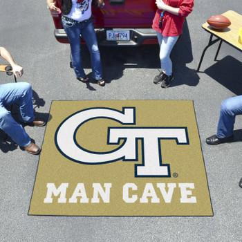 """59.5"""" x 71"""" Georgia Tech Gold Man Cave Tailgater Rectangle Mat"""