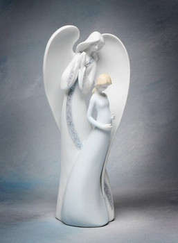 Angel and Pregnant Mother Porcelain Figurine Sculpture
