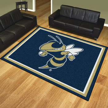 8' x 10' Georgia Tech Blue Rectangle Rug