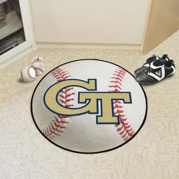 "27"" Georgia Tech GT Logo Baseball Style Round Mat"