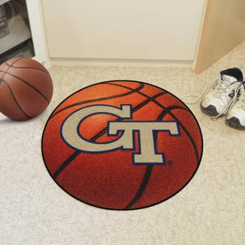 "27"" Georgia Tech GT Logo Orange Basketball Style Round Mat"