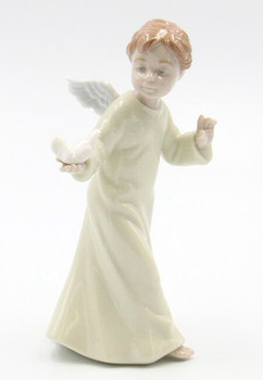 Little Angel Holding a Dove Bird Porcelain Sculpture by Nadal