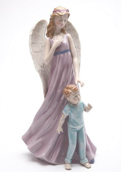Angel with Boy Porcelain Sculpture