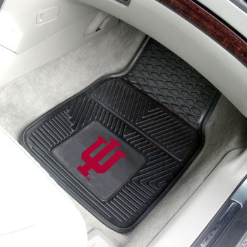 Indiana University Heavy Duty Vinyl Front Black Car Mat, Set of 2