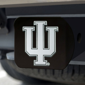 Indiana University Hitch Cover - Chrome on Black