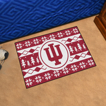 "19"" x 30"" Indiana University Holiday Sweater Maroon Rectangle Starter Mat"