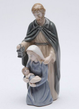 Miniature Holy Family Standing Porcelain Sculpture