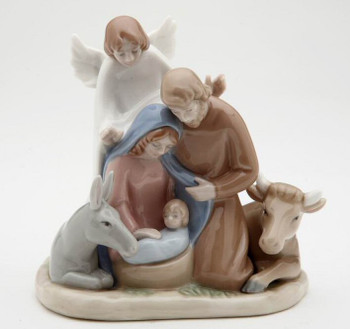 Miniature Angel with Holy Family Porcelain Sculpture