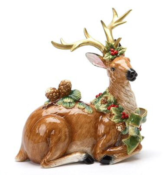 Reindeer Wearing Pine Cones Porcelain Sculpture
