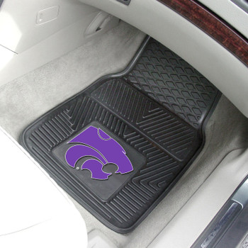 Kansas State University Heavy Duty Vinyl Front Black Car Mat, Set of 2