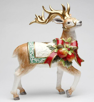 Victorian Harvest Reindeer Porcelain Sculpture