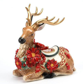 Poinsettia Reindeer Porcelain Sculpture