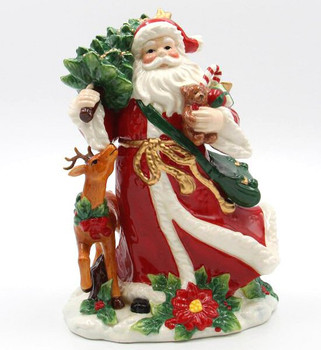 Santa with Reindeer Porcelain Sculpture