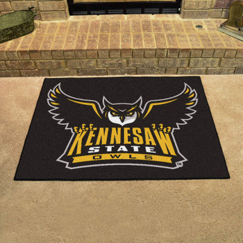 "33.75"" x 42.5"" Kennesaw State University Owls All Star Black Rectangle Mat"