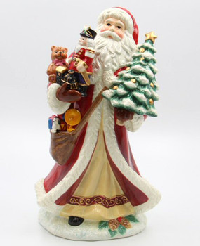 Santa with Christmas Tree and Presents Porcelain Sculpture