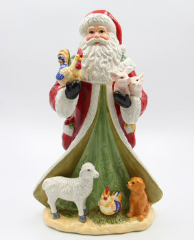 Santa with Farm Animals Porcelain Sculpture