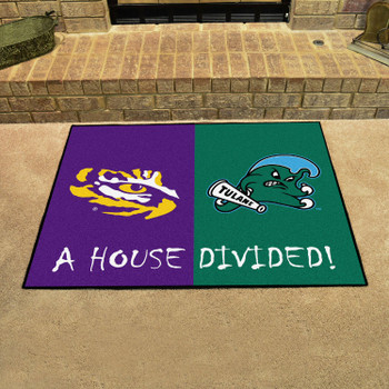 "33.75"" x 42.5"" LSU / Tulane House Divided Rectangle Mat"