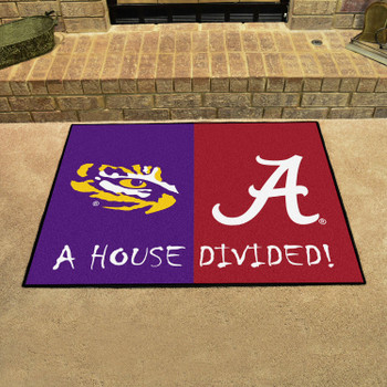 "33.75"" x 42.5"" LSU / Alabama House Divided Rectangle Mat"