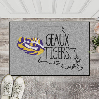 "19"" x 30"" Louisiana State University Southern Style Gray Rectangle Starter Mat"