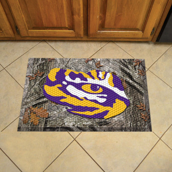 "19"" x 30"" Louisiana State University Rectangle Camo Scraper Mat - ""Tiger Eye"" Logo"