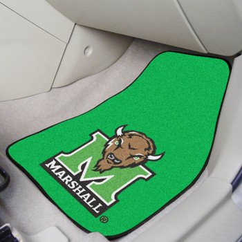 Marshall University Green Carpet Car Mat, Set of 2
