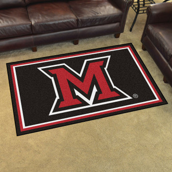 4' x 6' Miami University (OH) Black Rectangle Rug
