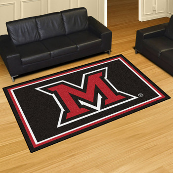 5' x 8' Miami University (OH) Black Rectangle Rug