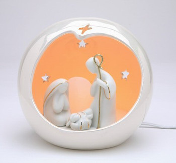 Small Globe Holy Family Porcelain Lighted Nativity Scene Sculpture