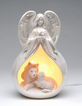 Eternal Peace Angel Porcelain Lighted Nativity Scene Sculpture