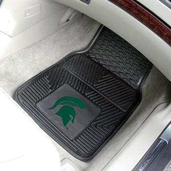 Michigan State University Heavy Duty Vinyl Front Black Car Mat, Set of 2