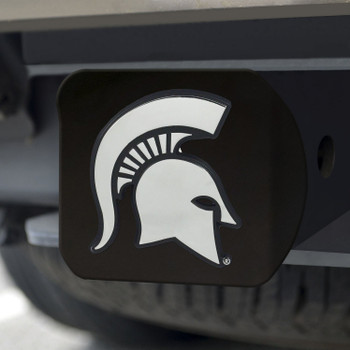 Michigan State University Hitch Cover - Chrome on Black