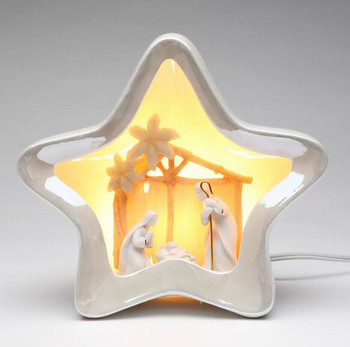 Star Shape Porcelain Lighted Nativity Scene Sculpture