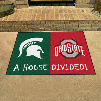 """33.75"""" x 42.5"""" Michigan State / Ohio State House Divided Rectangle Mat"""