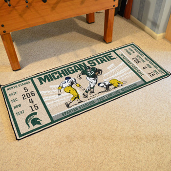 "30"" x 72"" Michigan State University Ticket Rectangle Runner Mat"