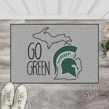 "19"" x 30"" Michigan State University Southern Style Gray Rectangle Starter Mat"