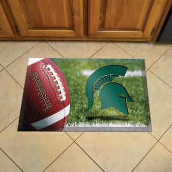 "19"" x 30"" Michigan State University Rectangle Scraper Mat - ""Spartan Helmet"" Logo"