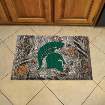 "19"" x 30"" Michigan State University Rectangle Camo Scraper Mat - ""Spartan Helmet"" Logo"