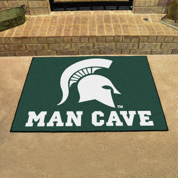 "33.75"" x 42.5"" Michigan State University Man Cave All-Star Green Rectangle Mat"