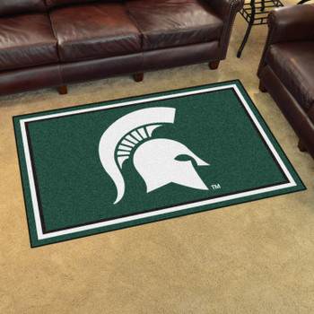 4' x 6' Michigan State University Green Rectangle Rug