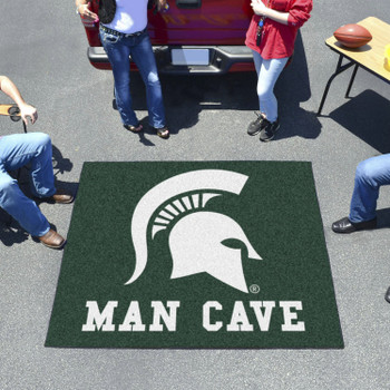 "59.5"" x 71"" Michigan State University Man Cave Tailgater Green Rectangle Mat"