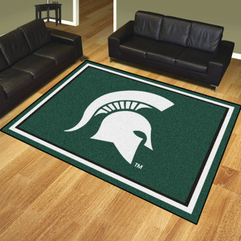 8' x 10' Michigan State University Green Rectangle Rug