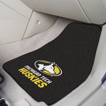 Michigan Tech University Black Carpet Car Mat, Set of 2