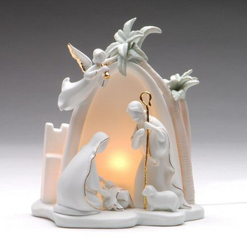 Bethlehem Holy Family Porcelain Lighted Nativity Scene Sculpture