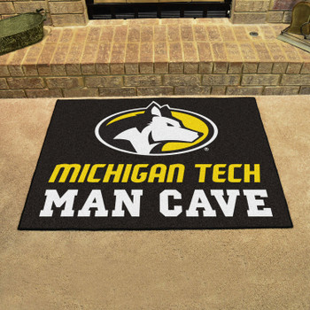 "33.75"" x 42.5"" Michigan Tech University Man Cave All-Star Black Rectangle Mat"