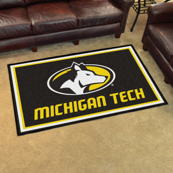 4' x 6' Michigan Tech University Black Rectangle Rug